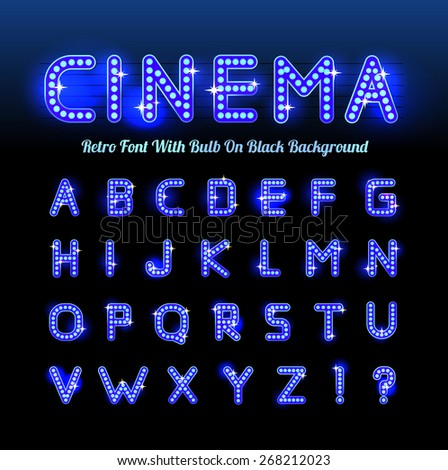 Retro cinema font - stock vector