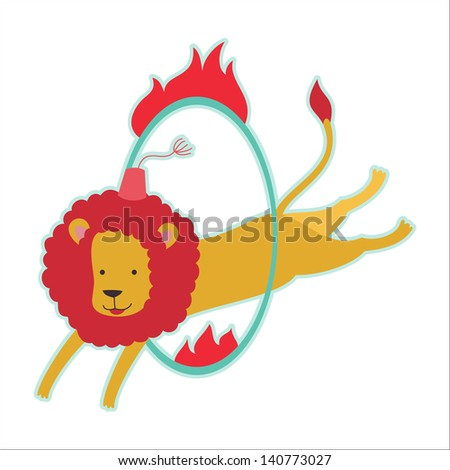 Retro circus animal isolated vector character. Lion. - stock vector