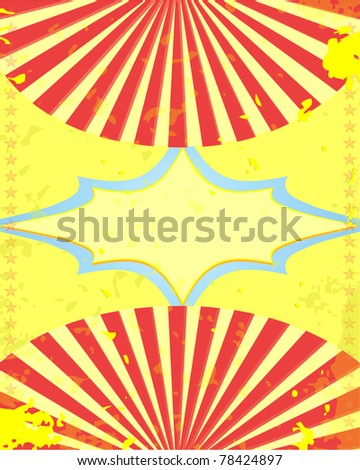retro circus poster yellow background Vector illustraration - stock vector