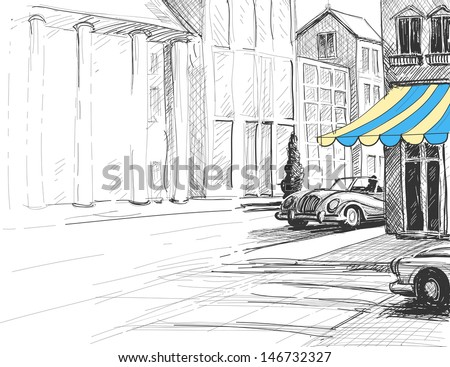 Retro city sketch, urban architecture, street and cars - stock vector