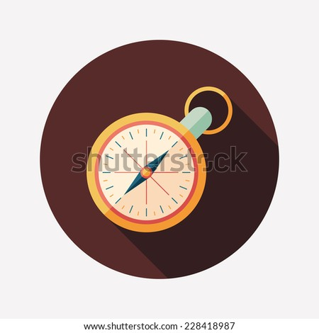 Retro clock flat round icon with long shadows. - stock vector