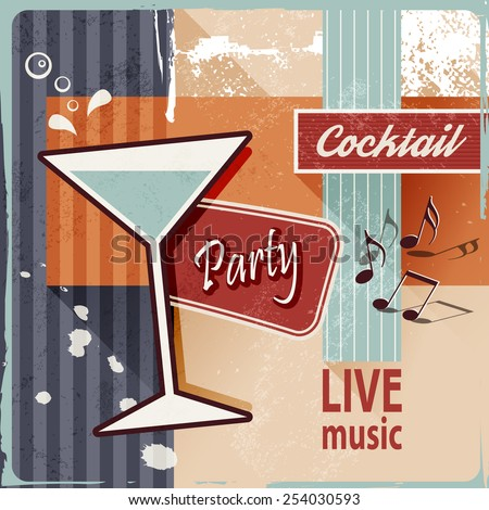 Retro cocktail party - vintage poster art - stock vector