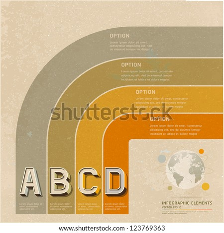 Retro color options banner on old paper background. Vector illustration. can be used for workflow layout, diagram, web design, infographics, number banner. - stock vector