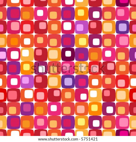 Retro colorful square pattern, tiles in any direction. - stock vector
