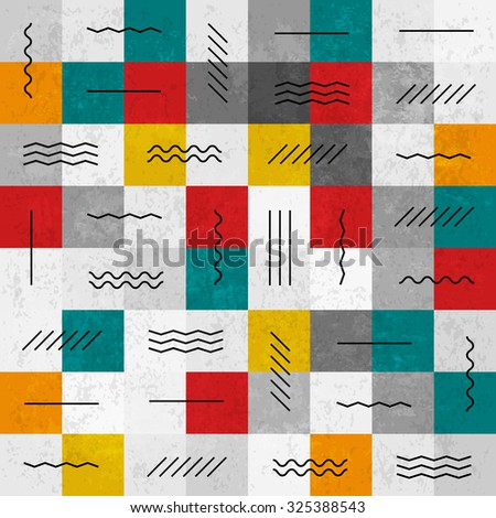 Retro colors abstract seamless pattern with geometric lines - stock vector