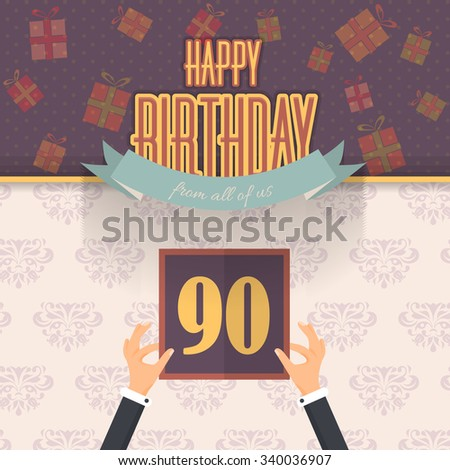 Retro Colors Happy Birthday Vector Design. Announcement and Celebration Message Poster, Flat Design. Age Ninety - stock vector