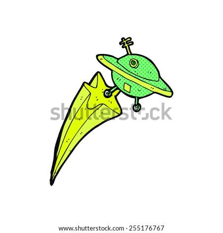 retro comic book style cartoon flying saucer - stock vector