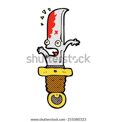 retro comic book style cartoon frightened knife - stock vector