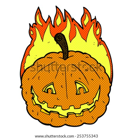 retro comic book style cartoon grinning pumpkin - stock vector