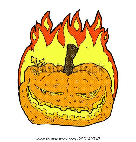 retro comic book style cartoon halloween pumpkin - stock vector