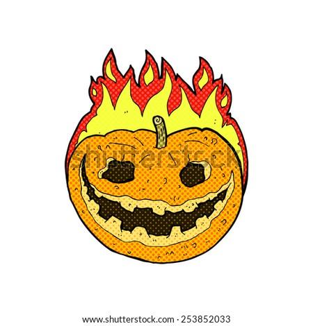 retro comic book style cartoon spooky pumpkin - stock vector