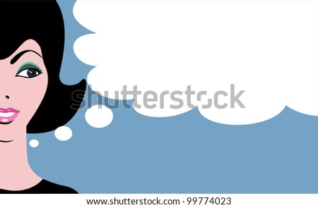 Retro comics woman with thinking bubble - stock vector