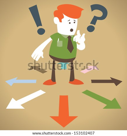 Retro Corporate Guy chooses which way to go.  - stock vector