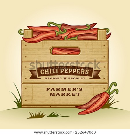 Retro crate of chili peppers. Editable EPS10 vector illustration with clipping mask and transparency. - stock vector