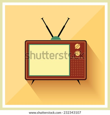 Retro crt tv receiver on vintage background vector - stock vector