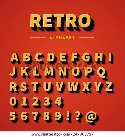 Retro 3d alphabet with shadow - stock vector