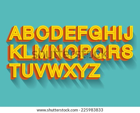 retro 3d typeface vector/illustration - stock vector