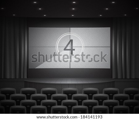 Retro dark cinema or theater hall, vintage black and white style. wide screen with movie countdown. Realistic vector illustration - stock vector