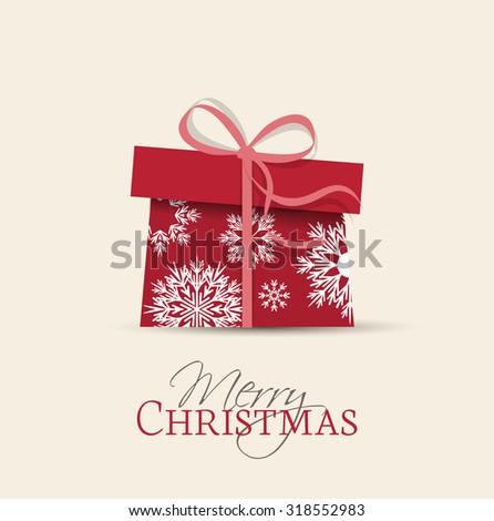 Retro decorative Christmas present, Vector Christmas card - stock vector