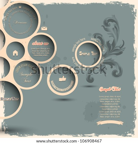 Retro design bubbles on grunge background.Vector eps10 - stock vector