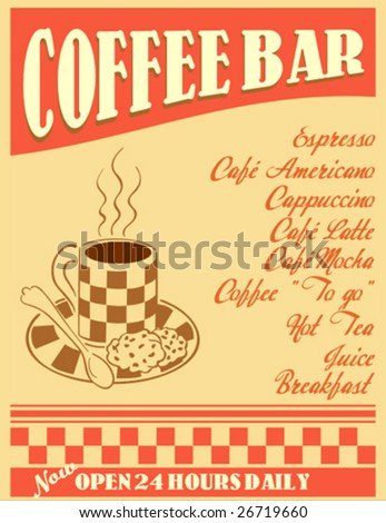 retro design - coffee bar poster or menu cover - stock vector