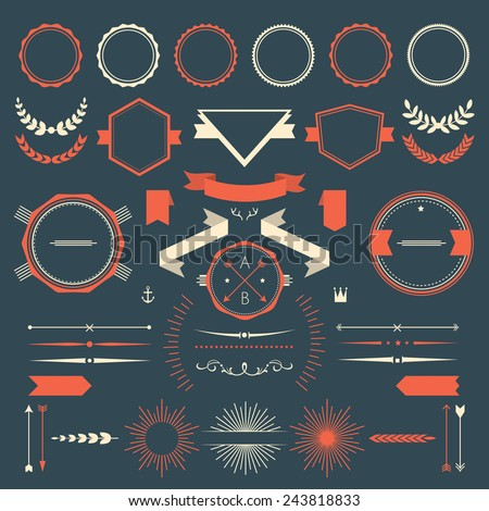 Retro design elements collection - stock vector