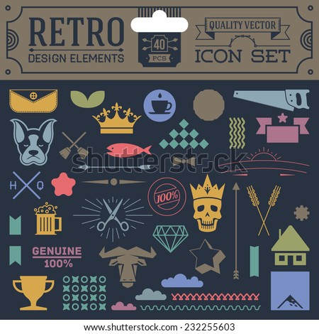 Retro design elements hipster style icon color set 3. High quality vector illustration. - stock vector