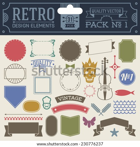 Retro design elements hipster style infographic color set 1. Labels, ribbons, icons, frames, borders etc. High quality vector illustration. - stock vector