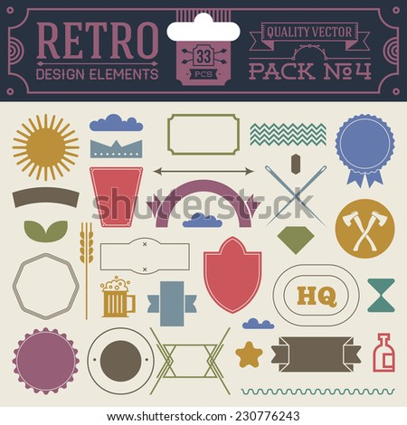 Retro design elements hipster style infographic color set 4. Labels, ribbons, icons, frames, borders etc. High quality vector illustration. - stock vector