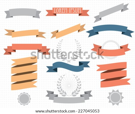 retro design elements with ribbons, labels and wreaths. vector set. eps 8 - stock vector