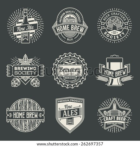 Retro design insignias line art logotypes home brewery set 2. Vector high quality vintage elements. - stock vector