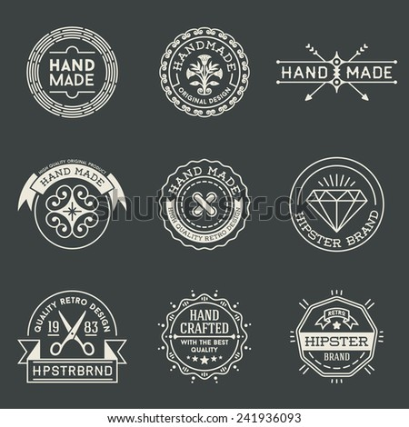 Retro design insignias logotypes set 3. Vector vintage elements. - stock vector