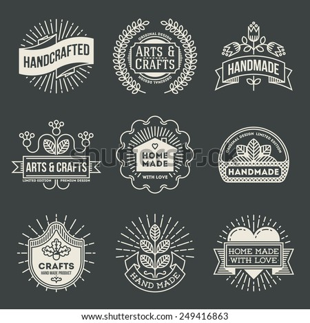 Retro design insignias logotypes set 12. Vector vintage elements. - stock vector