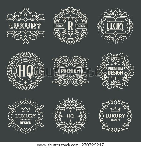 Retro Design Luxury Insignias Logotypes Template Set. Line Art Vector Vintage Style Victorian Swash Elements. Elegant Geometric Shiny Floral Frames. - stock vector
