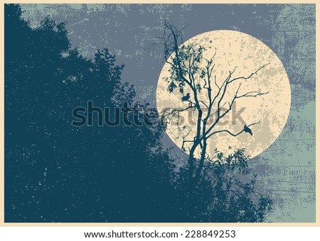 Retro design poster with silhouette dry tree, two crows and full moon. vector illustration - stock vector