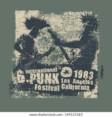 Retro design Punk festival for t-shirt print, with two punk musicians, grunge fonts and textures. vector illustration. grunge effect in separate layer. - stock vector