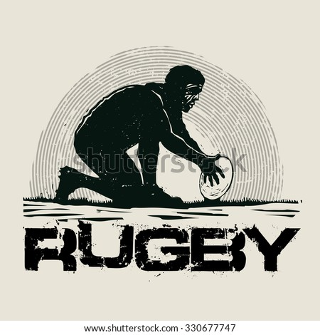 Retro design Rugby for poster or t-shirt print with rugby player and grunge fonts . vector illustration - stock vector