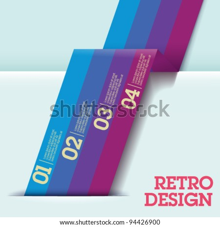 Retro Design template -blue to pink cutout lines / graphic or website layout vector - Suitable for infographics - stock vector