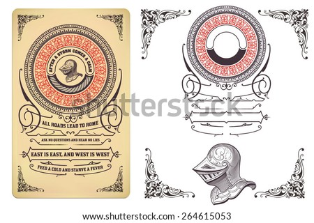 Retro design with engraving and floral details. Organized by layers. - stock vector