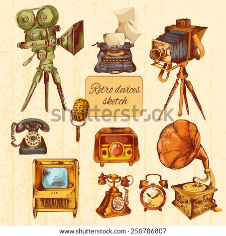 Retro devices sketch colored decorative icons set with microphone tv gramophone isolated vector illustration - stock vector