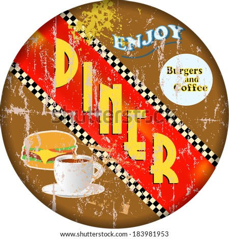 retro diner sign, vector eps 10 - stock vector