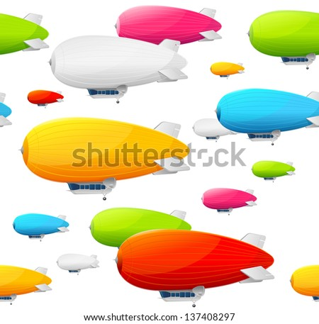 Retro dirigible seamless pattern. Vector illustration - stock vector