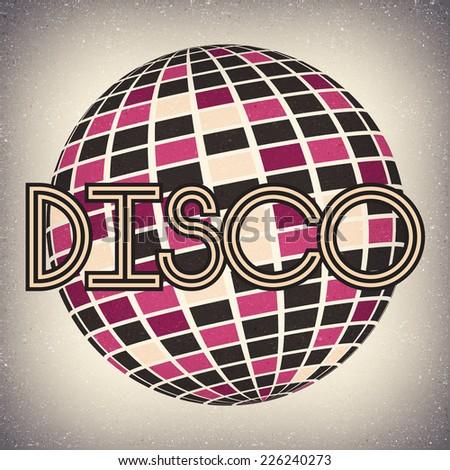 Retro Disco Ball Background - Vector Illustration - stock vector