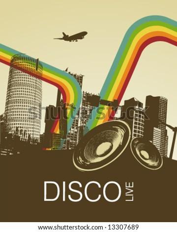 Retro Disco Music City Poster - stock vector
