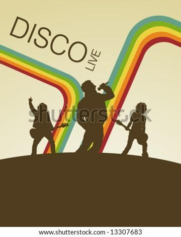 Retro Disco Music Poster - stock vector