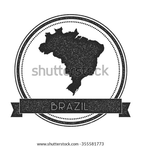 Retro distressed insignia with Brazil map. Hipster round rubber stamp with country name banner, vector illustration - stock vector
