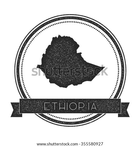 Retro distressed insignia with Ethiopia map. Hipster round rubber stamp with country name banner, vector illustration - stock vector
