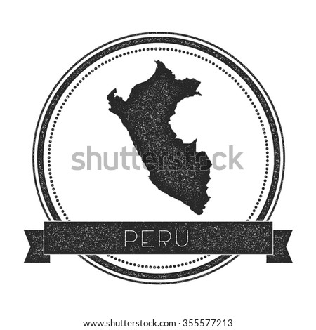 Retro distressed insignia with Peru map. Hipster round rubber stamp with country name banner, vector illustration - stock vector