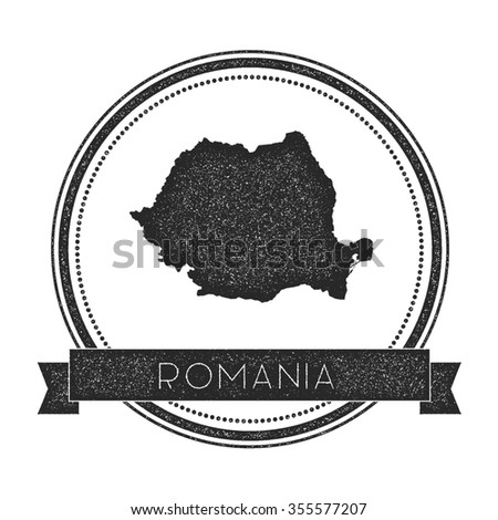 Retro distressed insignia with Romania map. Hipster round rubber stamp with country name banner, vector illustration - stock vector