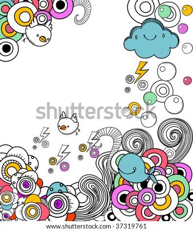 Retro doodles frame - stock vector